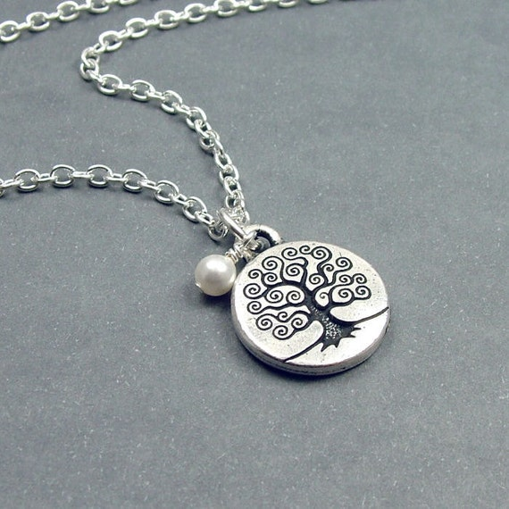 Silver Tree of Life Necklace with Swarovski Pearl