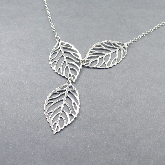 Triple Leaf Necklace Sterling Silver Chain