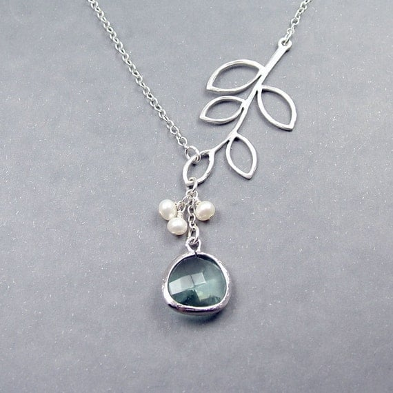 Glass Drop and  Branch Pendant Necklace - 'Florence Pale Green'  Freshwater Pearls and Sterling Silver Chain