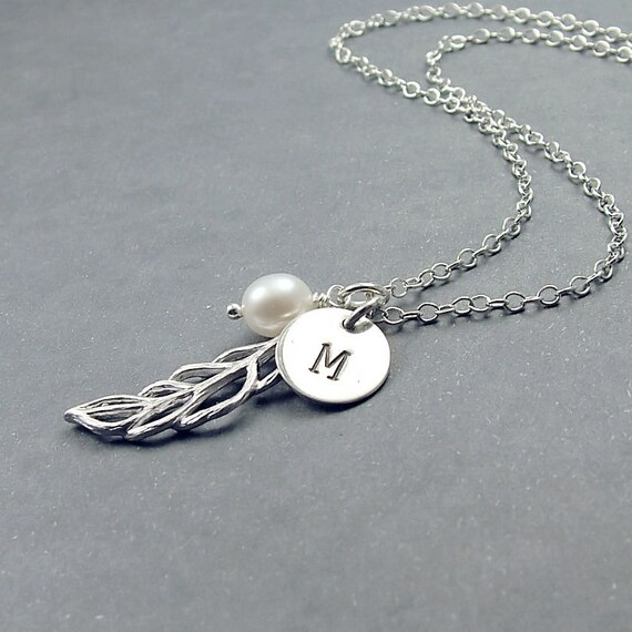 Personalized Leaf Necklace, Freshwater Pearl and Initial - Sterling Silver Disc and Chain