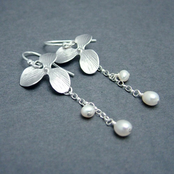 Pearl and Orchid Earrings - Sterling Silver Earwires, Orchid Jewelry, Freshwater Pearls, Bridal Jewelry