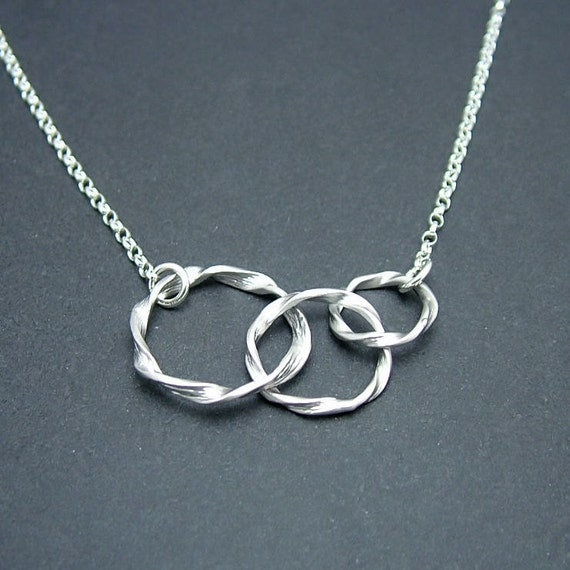 Eternity Rings Necklace, Triple Rings, Sterling Silver Chain, Linked Circle Necklace, best friends