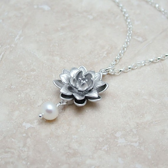 Lotus Necklace with Pearl on Sterling Silver Rolo Chain, Bridal Jewelry,