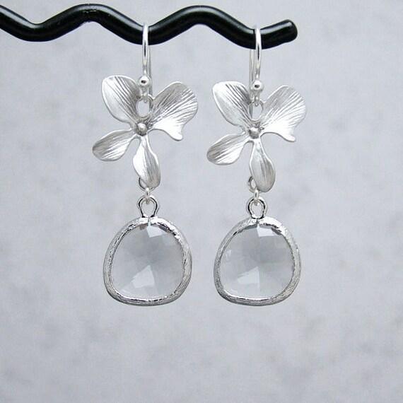 Smoke Grey Glass Drop and Orchid Earrings, Sterling SIlver Earwires, Gray Earrings, Bridal Jewelry