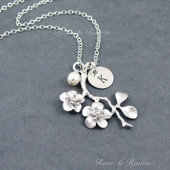 Cherry Blossom Initial Necklace, Personalized Jewelry with Custom Initial - 'Kate' - Sterling Silver Hand Stamped Disc