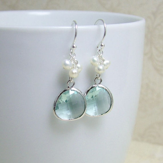 Florence Glass Drop Earrings - 'Pale Green'  Freshwater Pearls and Sterling Silver