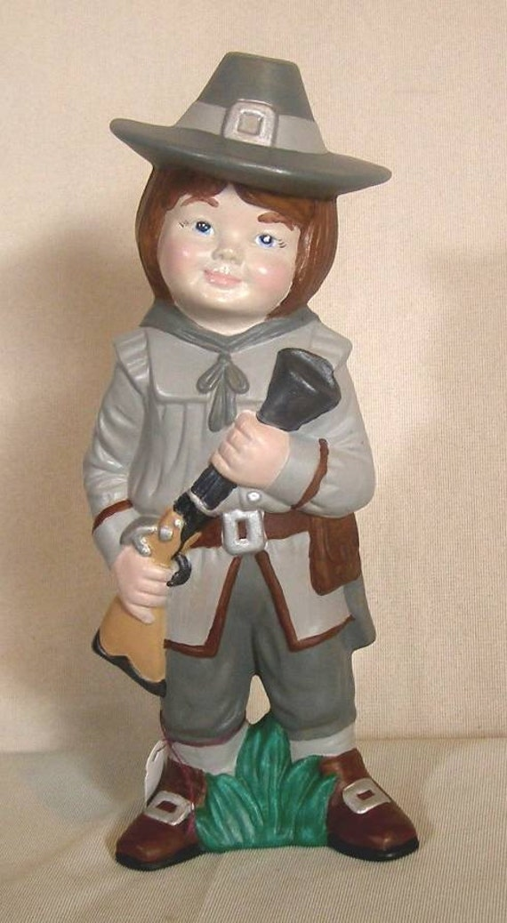 CUTE PILGRIM BOY ceramic figurine  by mawaggie