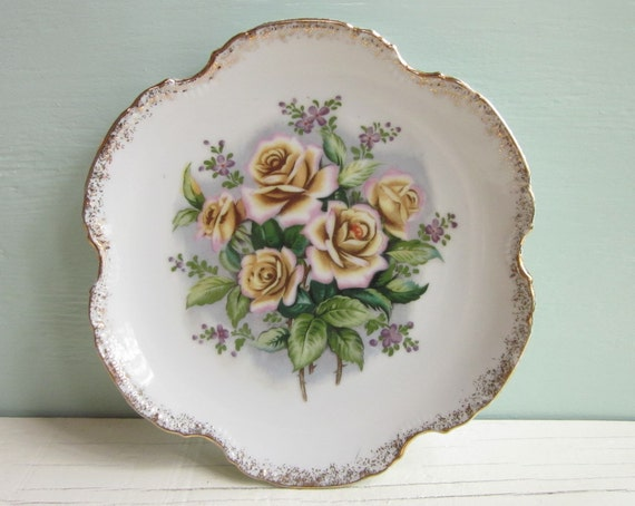 vintage decorative plate - floral with speckled gold edges roses with forget me nots by Artmark