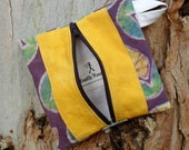 Hemp and Organic Cotton Zipper Pouch, Purple Goes with Yellow Flowers