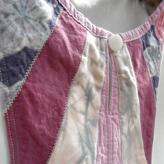 Pink Patchwork Shirt, Hand Dyed and Batiked, size medium