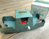 Vintage Card Shuffler . Ely Culbertson . 1950's Aqua Metal Card Shuffler