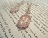 Aphrodite Earrings - Pink Glass and Rose Quartz