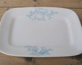 Antique Ironstone Transferware Blue and White Small Platter