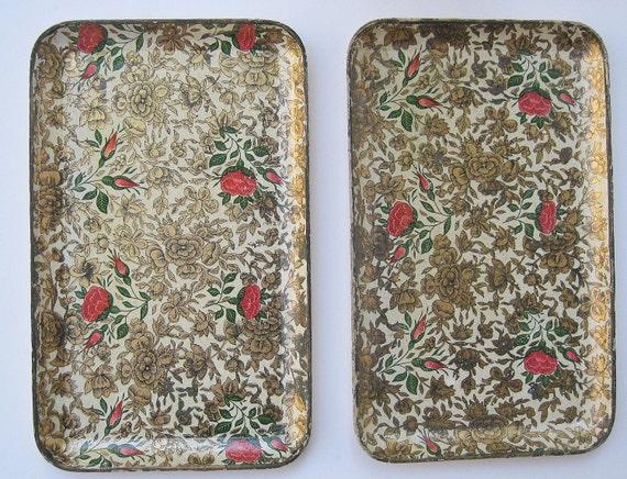 Two Vintage Highmount Papier Mache Small Trays