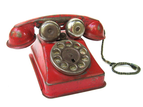 Vintage Bright Red Tin Toy Telephone