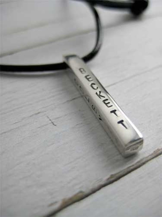 Sterling Silver Rectangle Bar Necklace 4mm x 32 mm Personalize on all 4 sides