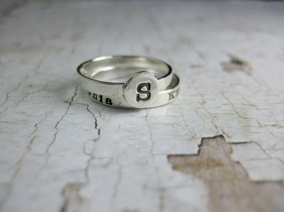 Personalized Silver Stacking Ring Set Hand Stamped Sterling Initials Names Button Ring Custom Mommy Jewelry Engraved Artisan Handmade Fine