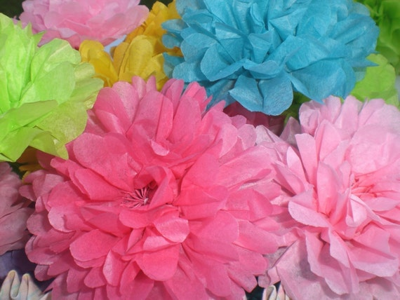 10 Tissue Paper Flowers  Any  Color  (YOU OPEN)