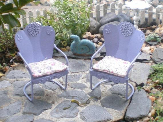Lilac Miniature Furniture, Dollhouse Chairs, Miniature Garden
