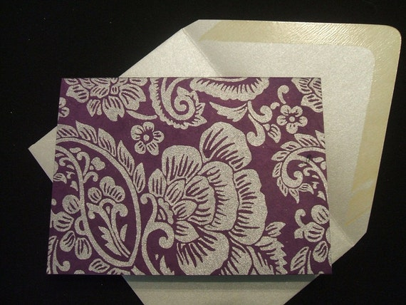 Note Cards - Silver Paisleys (Set of 10)