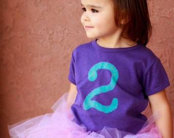 Girls Distressed Type Number Shirt, Birthday shirt  1,2,3,4,5,6,7 - Birthday Tee - personalized, sizes 12m to 6 (Free Shipping)