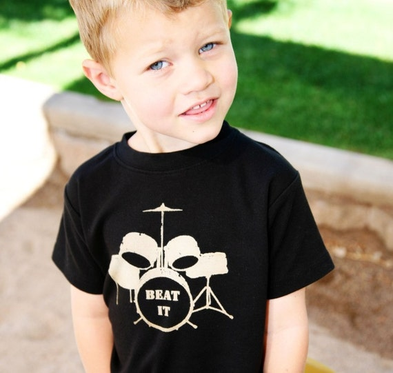 Beat it - Toddler Tee -  Drums tshirt - New HIGH QUALITY shirts - 12m to 6- (No ink)