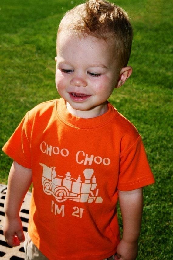 Choo Choo, I'm 2, Second birthday train shirt (No ink) Toddler Tshirt - 12m to 4T - click for colors, Free Shipping