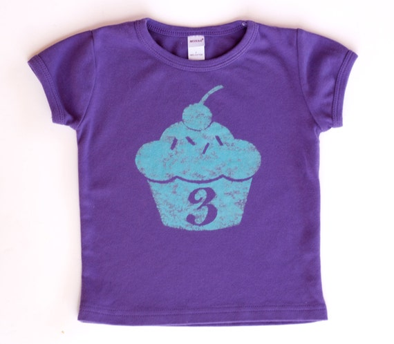Distressed Cupcake Birthday shirt - toddler number shirt - Purple or pink - sizes 12m to 6