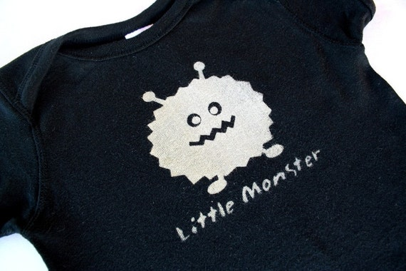 Baby Creeper\/Bodysuit - Little Monster - size 6m to 24m- (no ink or paint) Available in pink and blue too