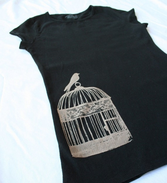 Womens tee - Bird Cage - No ink or paint - Size S to XL