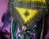 QUILT POUCH--Evening Mischief - Boho, Tribal, Ethnic, Hand Stitched, OOAK - Custom Orders Only