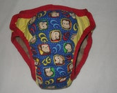 Training pants made from Curious George  fabric