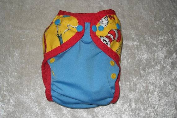 AI2 cloth diaper cover made from Cat in the hat fabric