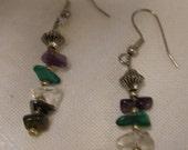 Handmade Gemstone Sterling Silver Stick Earrings Tiger's Eye Hematite Clear Crystal Malachite Amethyst