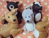 Woodland Animals Set of 5 Cake Toppers