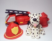 Firefighter Cake Topper Set of 4 Perfect for Birthdays, Baby Showers and More