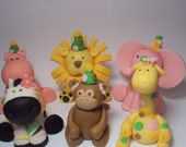 RESERVEED for kmedi004 Zoo Party Animals Set of 6- Cupcake or Cake Toppers