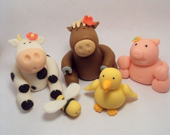 Farm Animals Set of 6 Cupcake or Cake Toppers for Birthdays, Farm Theme and other Events