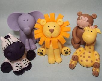 Safari Animals Set of 5- Cupcake or Cake Toppers