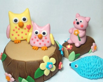 Forest Friends Set of 6 Cake Toppers For Birthdays, Baby Showers, and Other Events