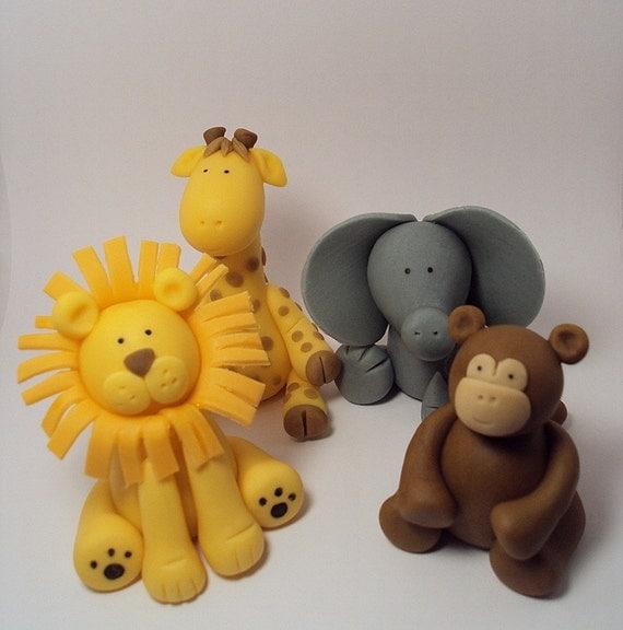 Cake Decorations Safari Animals : Safari Animals Set of 4 Cupcake or Cake Toppers