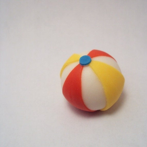 Beach Ball Set of 12- Cupcake Toppers