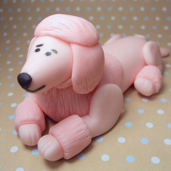 Pink Poodle Cake Topper for Birthdays, Pink Party, Paris Theme