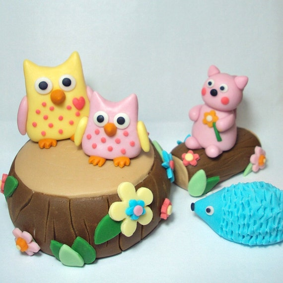 RESERVED FOR  belkins54321 Forest Friends Set of 6 Cake Toppers For Birthdays, Baby Showers, and Other Events