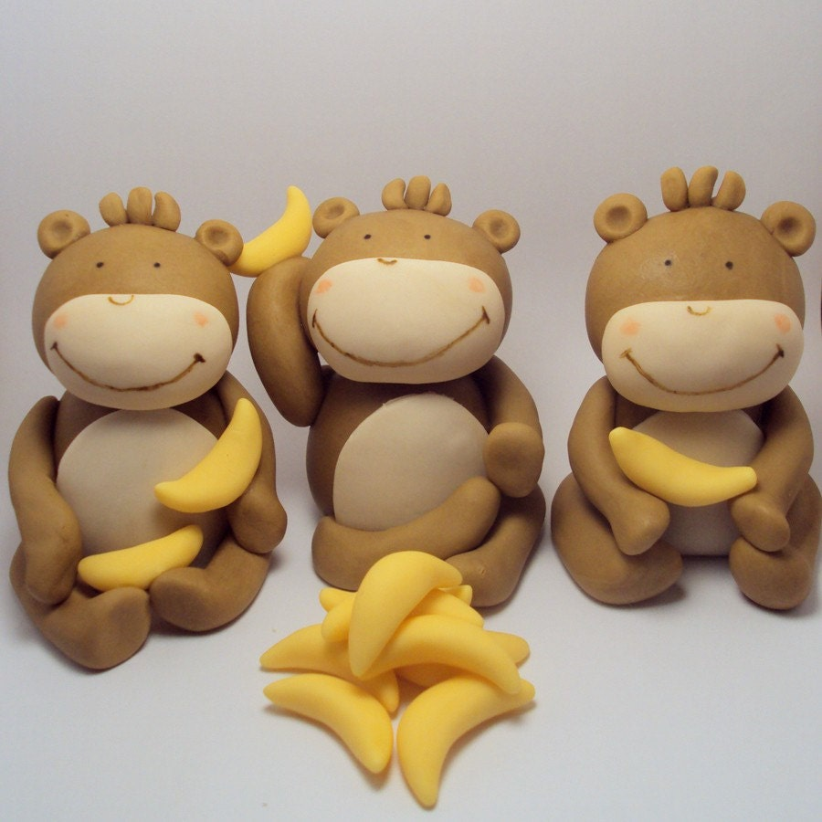 Gone bananas set of 3 monkey cake toppers by sweettouchdecor - Banana cake decoration ...