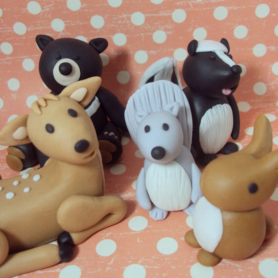 Cake Decoration Woodland Animals : Woodland Animals Set of 5 Cake Toppers by SweetTouchDecor ...