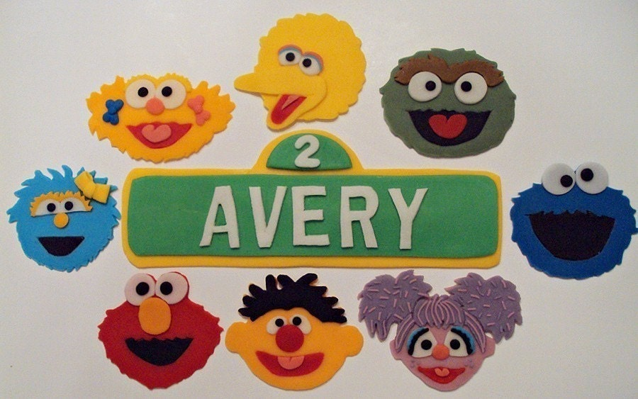 Sesame Street 9 Piece Set Cake Decorations/Toppers
