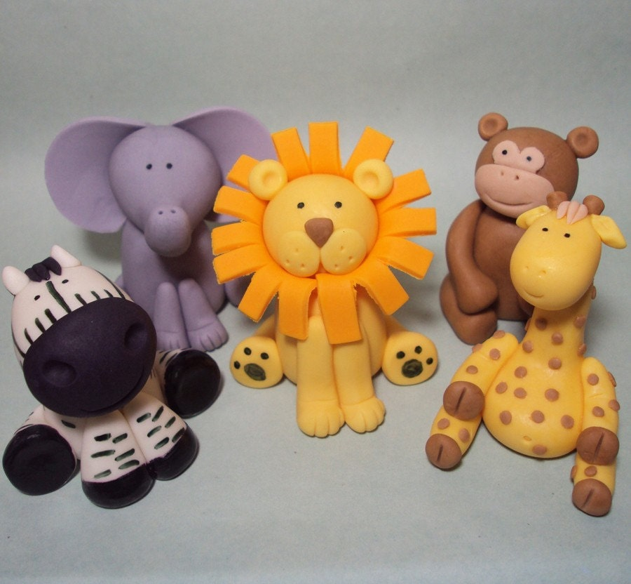 Safari animals set of 5 cupcake or cake toppers by for Animal cake decoration