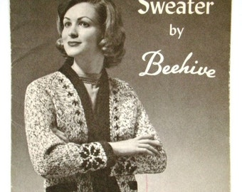 SALE * Vintage Raglan Sweater Pattern by Beehive Chieftan No.48 for Ladies Charted Knitting Pattern Graphs Sizes 14 16 18 Snowflake Design