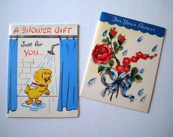 Vintage 2 Cards - For Your Shower and A Shower Gift - Cute and Tiny by Heart To Heart and Happy Hearts cards